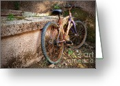 Rusted Greeting Cards - Old Bycicle Greeting Card by Carlos Caetano