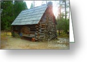 Pioneer Park Greeting Cards - Old Cabin - Yosemite Merced California Greeting Card by Glenn McCarthy Art and Photography