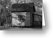Robyn Stacey Photo Greeting Cards - Old Cabin at Fort Washita in bw Greeting Card by Robyn Stacey