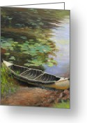 Lilies Flowers Greeting Cards - Old Canoe Greeting Card by Anna Bain