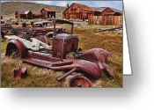Ghost Town Greeting Cards - Old cars Bodie Greeting Card by Garry Gay