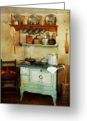 Wooden Ware Greeting Cards - Old Cast Iron Cook Stove Greeting Card by Carmen Del Valle