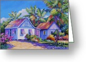 Bougainvillea Greeting Cards - Old Cayman Cottages Greeting Card by John Clark
