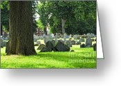 Grave Greeting Cards - Old cemetery in Boston Greeting Card by Elena Elisseeva