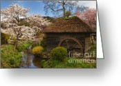 Old Mills Greeting Cards - Old Cherry Blossom Water Mill Greeting Card by Sebastian Musial