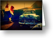 The Mother Road Greeting Cards - Old Chevrolet on Route 66 Greeting Card by Susanne Van Hulst