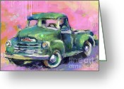 Landscape Posters Greeting Cards - Old CHEVY Chevrolet Pickup Truck on a street Greeting Card by Svetlana Novikova