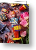 Drummer Greeting Cards - Old childrens toys Greeting Card by Garry Gay