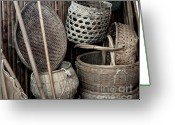 Wicker Baskets Greeting Cards - Old Chinese Farm Tools Greeting Card by Yali Shi