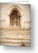 Knob Greeting Cards - Old church door Greeting Card by Tom Gowanlock