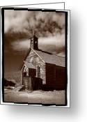 Church Greeting Cards - Old Church In Bodie California Greeting Card by Steve Gadomski