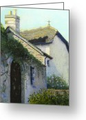 Chimney Pastels Greeting Cards - Old Church New Church Greeting Card by Lorraine McFarland