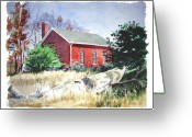 Schoolhouse Painting Greeting Cards - Old Church Schoolhouse  Greeting Card by Rick Mock