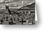 Taos Pueblo Greeting Cards - Old Church Taos Pueblo Greeting Card by Lou  Novick