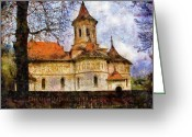 Romania Greeting Cards - Old Church with Red Roof Greeting Card by Jeff Kolker