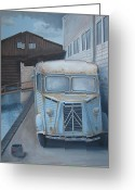 Van Painting Greeting Cards - Old Citroen Van Greeting Card by Stuart Swartz