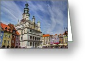 City Hall Greeting Cards - Old City Hall Clock Tower - Posnan Poland Greeting Card by Jon Berghoff