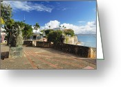 Puerto Rico Greeting Cards - Old City in the Caribbean Greeting Card by George Oze