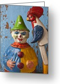 Toys Greeting Cards - Old Clown and Roster Greeting Card by Garry Gay