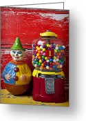 Coin Greeting Cards - Old clown toy and gum machine  Greeting Card by Garry Gay