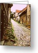 Foundations Greeting Cards - Old cobblestone Greeting Card by Donald Carmichael