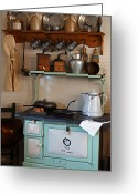 Crocks Photo Greeting Cards - Old Cook Stove Greeting Card by Carmen Del Valle