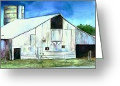 Cornfield Greeting Cards - Old Country Barn Greeting Card by Christy  Freeman