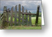 Fence Gate Greeting Cards - Old Country Gate Greeting Card by Steven  Michael