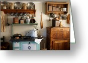 Wooden Ware Greeting Cards - Old Country Kitchen Greeting Card by Carmen Del Valle