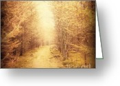 Faux Vintage Greeting Cards - Old Country Lane Greeting Card by Zeana Romanovna