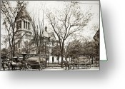 Wyoming Greeting Cards - Old Courthouse Public Square Wilkes Barre PA Late 1800s Greeting Card by Arthur Miller
