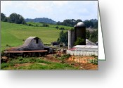 Red Barns Greeting Cards - Old Dairy Barn Greeting Card by Karen Wiles