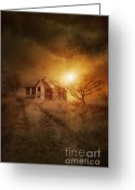 Omnimous Greeting Cards - Old derelict farm house on the Prairies Greeting Card by Sandra Cunningham