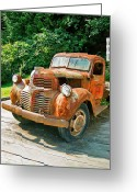 Rusted Cars Greeting Cards - Old Dodge in Telegraph Cove Greeting Card by Randy Harris