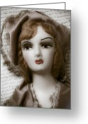 Doll Greeting Cards - Old doll on old letter Greeting Card by Garry Gay