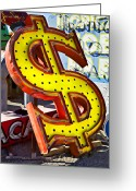 Junk Greeting Cards - Old dollar sign Greeting Card by Garry Gay