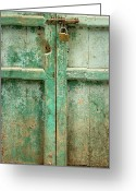 Old Lock Greeting Cards - Old Door Greeting Card by Adam Romanowicz