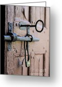 Old Lock Greeting Cards - Old door of wood with its worn lock Greeting Card by Bernard Jaubert