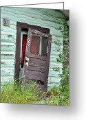 Door Hinges Greeting Cards - Old Door on Rustic Alaska Cabin Greeting Card by Gary Whitton