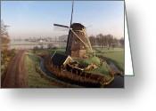 Windmill And Tree Greeting Cards - Old Dutch Windmill Near Amsterdam Greeting Card by Photo by Fabfoto