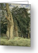 Georg Greeting Cards - Old elms in Prater Greeting Card by Ferdinand Georg Waldmuller