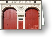 Fire Houses Greeting Cards - Old Empire Fire House Number One . San Jose California . 7D13016 Greeting Card by Wingsdomain Art and Photography