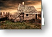 Wooden Fence Greeting Cards - Old English Barn Greeting Card by Lourry Legarde