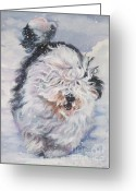 Sheepdog Greeting Cards - Old English Sheepdog  Greeting Card by L A Shepard