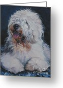 Sheepdog Greeting Cards - Old English Sheepdog Greeting Card by Lee Ann Shepard