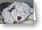 Sheepdog Greeting Cards - Old English Sheepdog Pup Greeting Card by Lee Ann Shepard