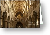 Religious Building Greeting Cards - Old English Style Cathedral Greeting Card by Heiko Koehrer-Wagner