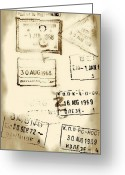 Cyrillic Greeting Cards - Old Entry and Exit Travel Stamps Greeting Card by Yali Shi