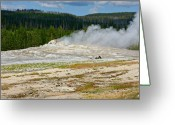 Fumarole Greeting Cards - Old Faithful - An American Icon in Yellowstone National Park WY Greeting Card by Christine Till