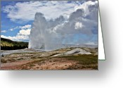 Fumarole Greeting Cards - Old Faithful Geyser eruption Yellowstone National Park WY Greeting Card by Christine Till